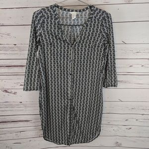 H&M Cross Hatch Pattern Tunic with Buttons